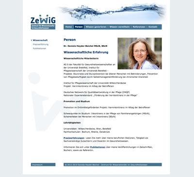 Webdesign für ZewiG