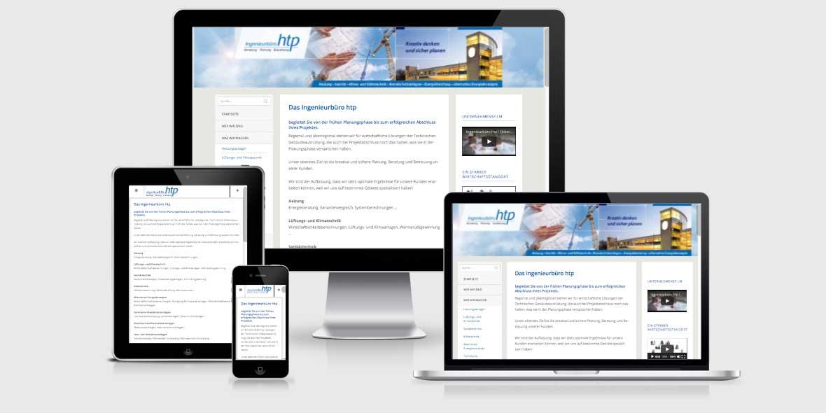 Responsive Webdesign Ingenieurbuero htp Weinheim