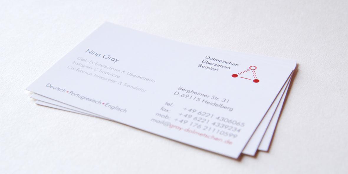 Visitenkarten Nina Gray, Dolmetscherin