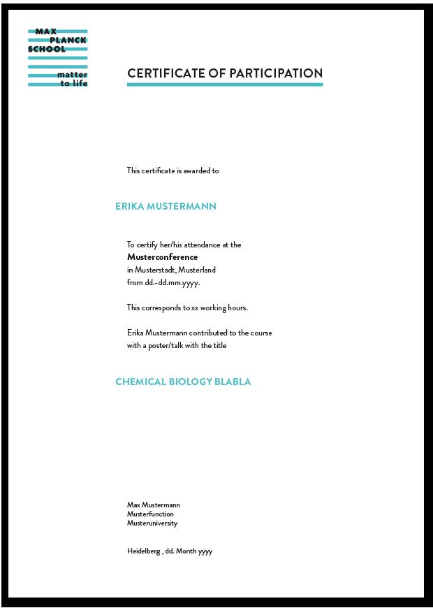 Certificate of Participation, Max Planck School