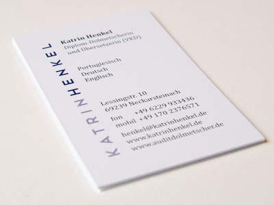 Visitenkarte typografisch gestaltet